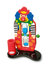 Houten tandenpoetstimer clown