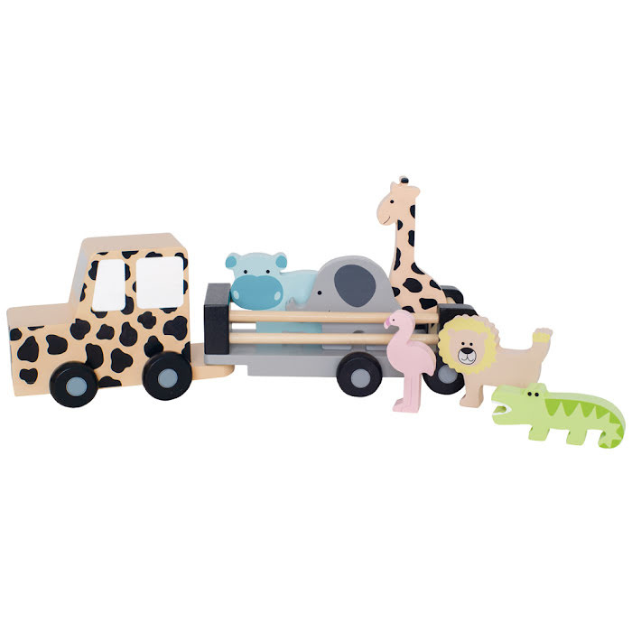Houten dierentransport jeep safari JaBaDaBaDo
