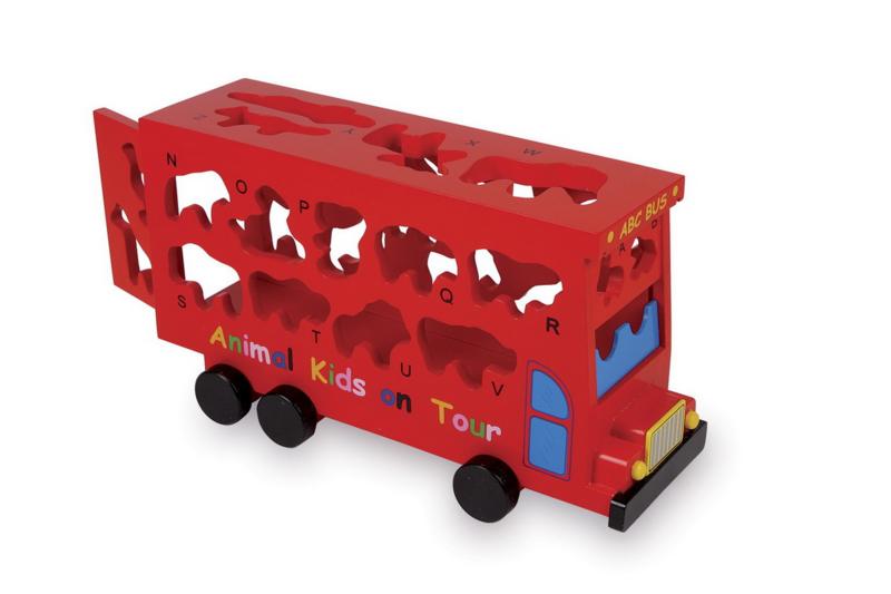 Houten ABC bus met dierenvormen | Auto's & speelsets | Hopsa