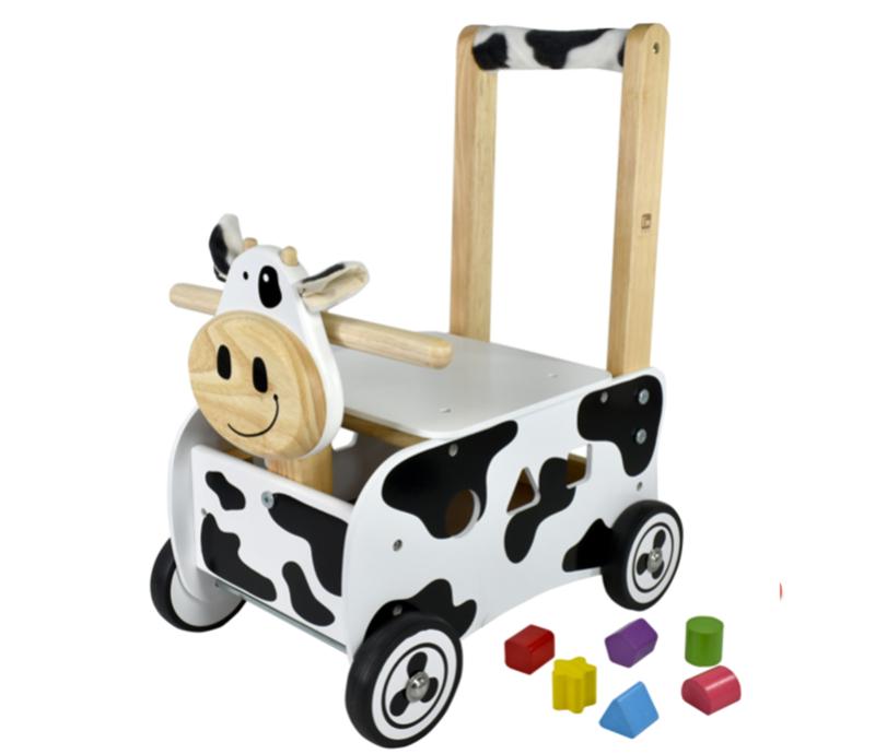 Houten loopwagen & duwwagen koe I'm Toy