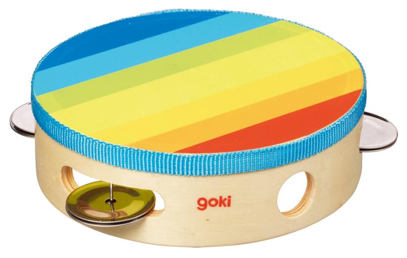 Houten tamboerijn Goki regenboog