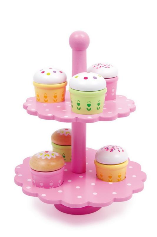 Houten cupcakes met standaard