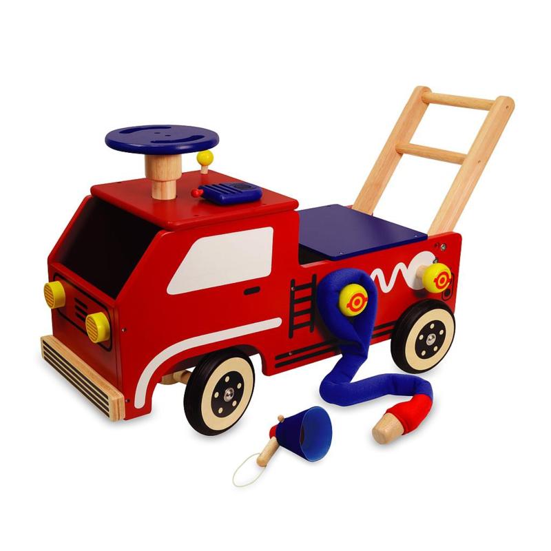 Houten loopwagen brandweer I'm Toy