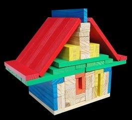 BBlocks bouwplankjes 100 stuks gekleurd in opbergdoos