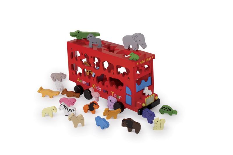 Houten ABC bus met dierenvormen