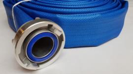 """Drinkwaterslang plat oprolbaar blauw met PU coating - 2"""" (52 mm) x 20 meter + RVS Storz NA / NOK 81 koppelingen met drinkwater afdichtingen"""