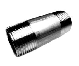 Pijpnippel RVS 316 | BSP buitendraad x BSP buitendraad
