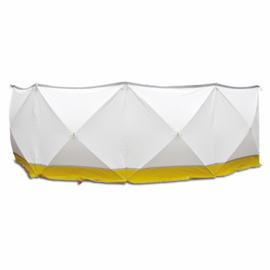 Afzetscherm 720 x 180 cm professionele uitvoering geel / wit