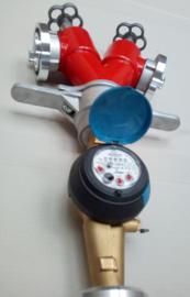 Standpijp / opzetstuk DN 80 voor ondergrondse hydranten met 2 spindelafluiters + watermeter Storz NOK / NA 52