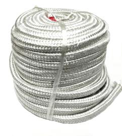Vierkant gevlochten glasvezelpakking | Fibreglass braided square yarn packing | Ceramic Fire Door Packing A-60 | Vierkant 15 x 15 mm