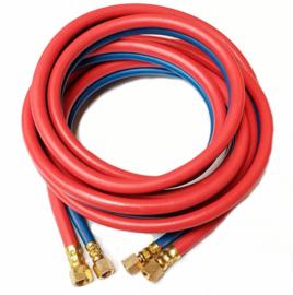 Tweelingslang gas / zuurstof 4,0 x 4,0 mm + koppelingen | Rol = 5 meter