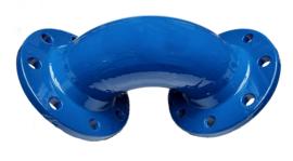 Geflensde bocht 90 graden gietijzer + blauwe coating - DIN PN 10 | PN 16