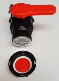 "IBC 2"" vlinderklepkraan PP | IN: S75 x 6 aluminium binnendraad met PTFE / Teflon dichting - UIT: S60 x 6 buitendraad + blindkap"