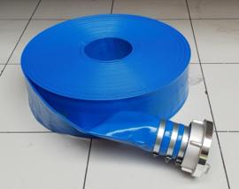 "Plat oprolbare blauwe PVC afvoerslang / waterpompslang / bouwslang dia 3"" 76 mm - ROL = 50 METER | € 2,70 per meter"