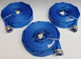 """Drinkwaterslang plat oprolbaar blauw met PU coating - 2"""" (52 mm) x 20 meter + aluminium Storz NA / NOK 66 koppelingen met drinkwater afdichtingen"""