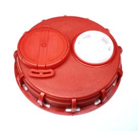 "IBC schroefdeksel | vuldop voor vulopening IBC tank - DN 150 | S165x7 grove binnendraad | met 2 stuks 2"" BSP binnendraad opening bovenzijde"