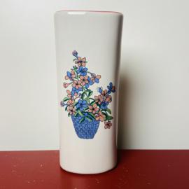 Radiatorbakje roze en blauwe bloemen