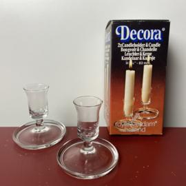 Vintage glazen kaarsenstandaards