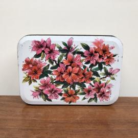 Vintage rechthoekig bloemen blik