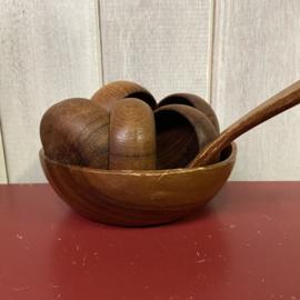 Vintage houten pinda set