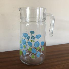 Vintage glazen sapkan blauwe bloem
