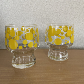 2 vintage glazen gele stippen
