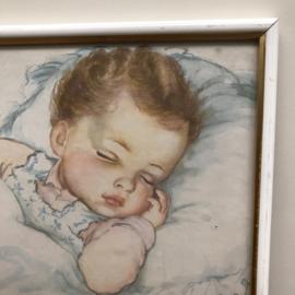 Vintage schilderij slapend kindje