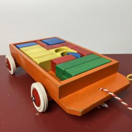 Vintage houten blokkenkar
