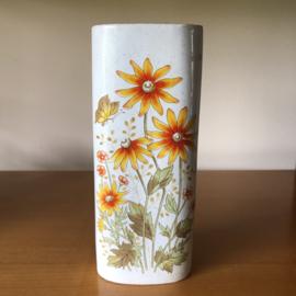 Vintage radiatorbakje oranje bloem