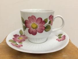 Vintage kop & schotel roze bloem