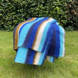 Vintage wollen deken blauwe streep