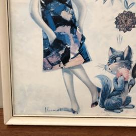Vintage Schilderij meisje met kat