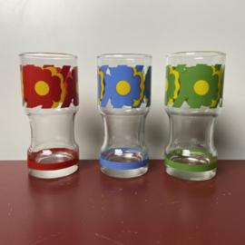 3 vintage longdrink glazen bloemen