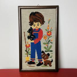 Vintage geborduurd schilderij