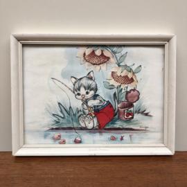 Vintage schilderijtje vissende kat