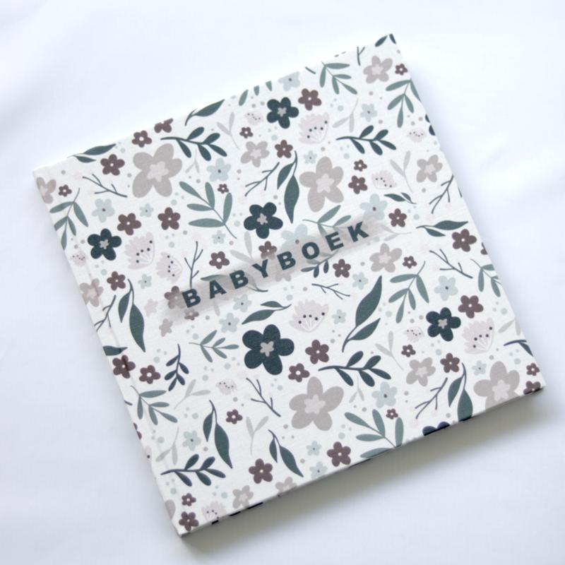 Babyboek - Bloemenprint linnen cover