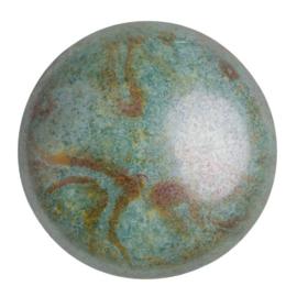 pcab-041 Opaque Mix Blue/Green Ceramic Look 25mm cabochon 03000/65431