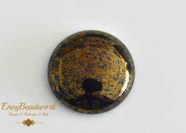 gc-009 Glass Cabochon Blue/Gold round 25mm