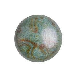 pcab-010 Opaque Mix Blue/Green Ceramic Look 18mm cabochon 03000/65431