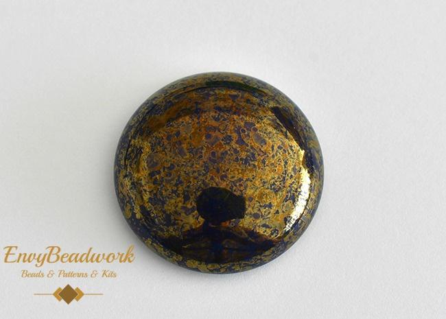 gc-009 Glas Cabochon Blauw/Goud rond 25mm