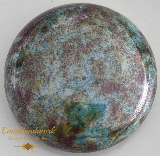 gc-001 Glas Cabochon Groen/Bruin rond 25mm