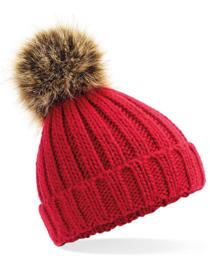 Peuter winter muts met faux fur pompon | Rood