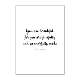 Kaart You are beautiful for you are fearfully and wonderfully made