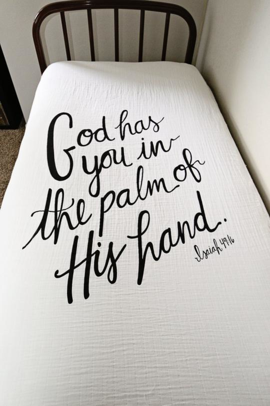 Hoeslaken God has you in the palm of his hand