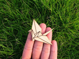 Wooden origami crane bird brooch