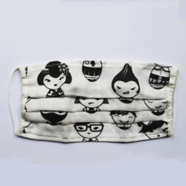 Mouth mask with Japanese faces print