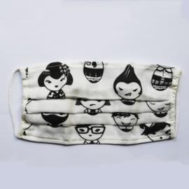 Mondmasker met Japanse gezichtjes print
