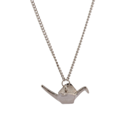 Origami crane bird necklace silver-colored