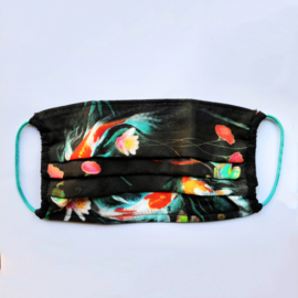 Face mask with koi fish in pond print