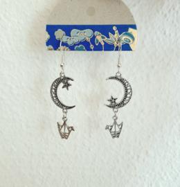 maan ster kraanvogel oorbellen